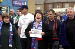 Fans protest against Knighton in 2002
